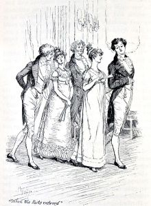 Lizzy's nemesis - and the rest of Mr. Bingley's party - arrives at the ball. {PD}